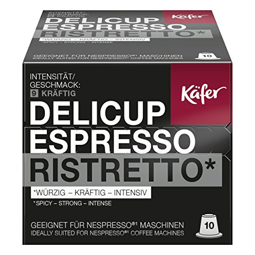 Minges Käfer Delicup Espresso Ristretto Kaffeekapsel, Kapsel, Würzig-Kräftig, Geeignet für Nespresso-Maschinen, 10 Kapsel à 5,2 g
