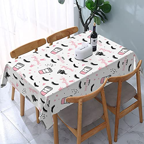 XIANGYANG Fredeulva Lashes Mascara Coffee Cup Rectangle Tablecloth 54 X 72 Waterproof Washable Reusable Table Cover Cloth for Dining Room Kitchen Picnic Home Decor