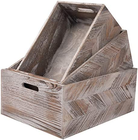 YUHFIW Large Rustic Wooden Crates Set of 3 Decorative Wood Storage Box Unfinished Nesting Wood product image