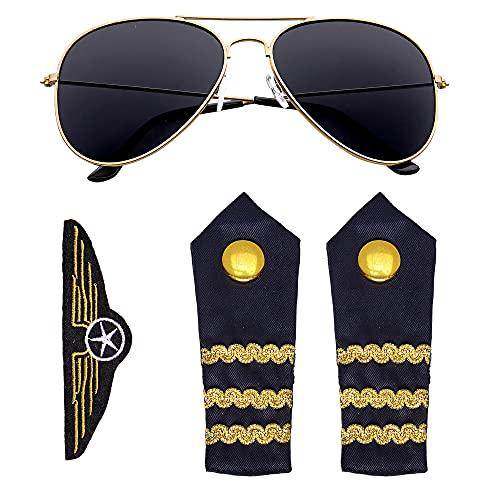Widmann 00085 - Piloten Set, 3-teilig, Sonnenbrille, Schulterklappen, Abzeichen, Verkleidungsset, Accessoire, Karneval, Mottoparty