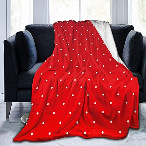 Ultra Soft Micro Fleece Durable Red and Tiny White Polka Dots Throw Blankets Soft Warm Blanket Sheet for Bed Bedding Sofa Office Living Room Home Decor-50*60in