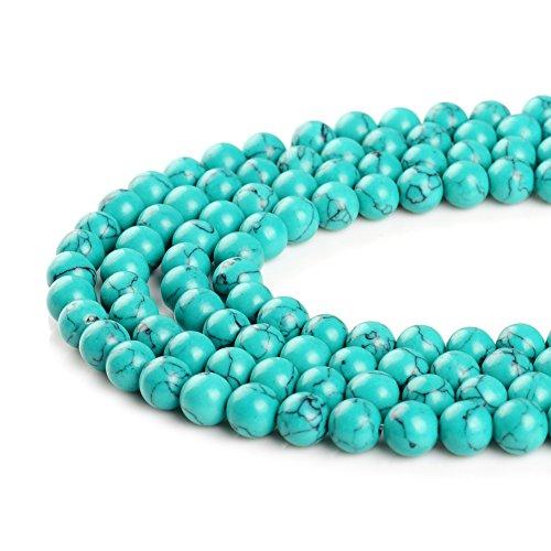 Perles de synthèse bleues, blanches, vertes, rouges, turquoises de 4 mm, 6 mm, 8 mm, 10 mm, 12 mm, 14 mm.