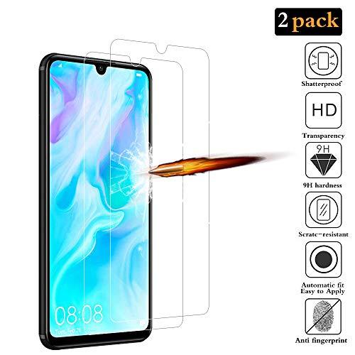 ANKENGS Huawei P30 Lite Vetro Temperato [2 Pezzi] Huawei p30 Lite Schermo in Vetro, [Anti-graffio] [Anti-Bolle] Huawei p30 Lite Screen Protector