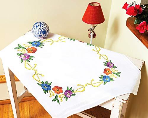 Kamaca Kit de punto de cruz para mantel con plantilla de bordado (mantel de 80 x 80 cm), diseño de mariquitas
