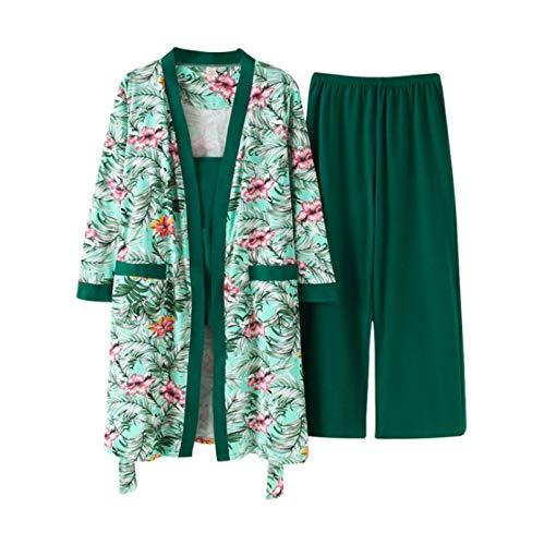 DFDLNL Primavera otoño Robe + Sling + Pants Conjunto de 3 Piezas Pijamas Florales para Mujer Pijamas de algodón de Manga Larga para Mujer XXL