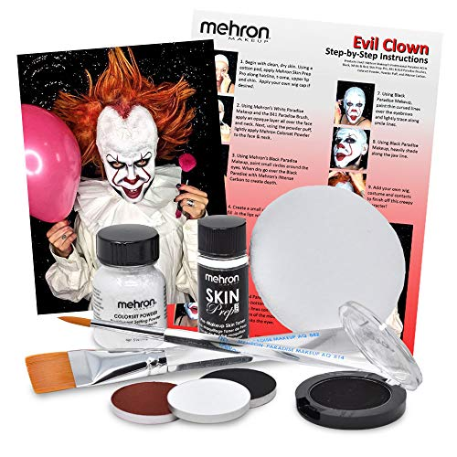 "Evil Clown Halloween Makeup Kit – Professional Costume Cosmetics for a Creepy""IT"" Inspired Look – Dress Up Like Pennywise with Pro-Quality Paint and Brushes – by Mehron"