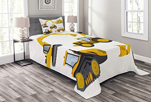 HUNKKY - Colcha para guardería, diseño de maquinaria pesada, diseño de dibujos animados, diseño de dibujos animados, 2 piezas, con funda de almohada, color amarillo