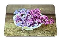 22cmx18cm マウスパッド (ライラックのヤグルマギクの花の装飾) パターンカスタムの マウスパッド