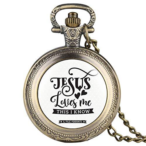 GPWDSN Jesus Love Me Serie Taschenuhr für Männer Frauen, spezielle Taschenuhren für Männer, Frauen, Unisex Anhänger Uhr Link Kette für Freund, Taschenuhr Stehen Holz