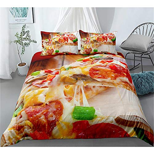 XYXSS 4 Pieces Duvet Cover Set King Food Pizza Bacon3D Printed Bedding Quilt Duvet Cover With Zipper Closure For Girls, Ultra Soft Hypoallergenic Microfiber(220 X 230 Cm)