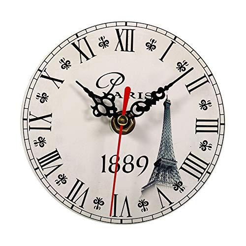 Reloj Redondo de Madera, 7 Tipos de Reloj de Pared Antiguo Creativo Estilo Vintage Relojes Redondos de Madera Decoración de la Oficina en casa(# 6)