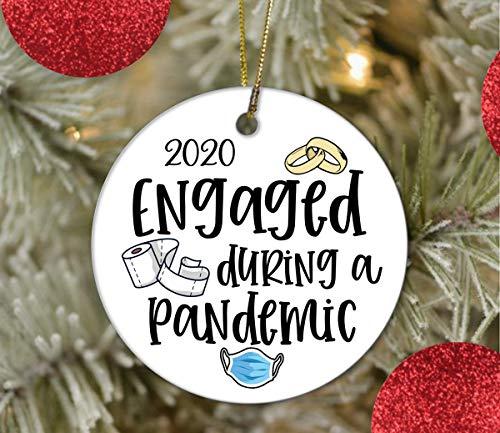 None-brands 3' Christmas Tree Decor Engaged Ornament During a Pandemic 2020 Christmas Engagement Ornaments Quarantine Ornament Ceramic Ornament
