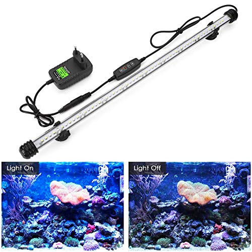 GreenSun Led Aquarium Beleuchtung Aquarium Licht Unterwasserbeleuchtung Wasserdicht IP68 Aquarium Lampe, Weiß & Blau, 48cm