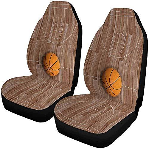 Enoqunt Weergavebasketbal op houten vloerbedekking, autostoelbeschermer, autostoelbeschermers