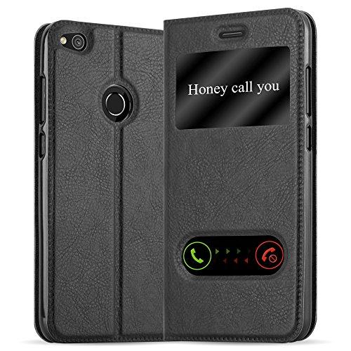 Cadorabo Funda Libro para Huawei P8 Lite 2017 en Negro Cometa - Cubierta Proteccíon con Cierre Magnético, Función de Suporte y 2 Ventanas- Etui Case Cover Carcasa