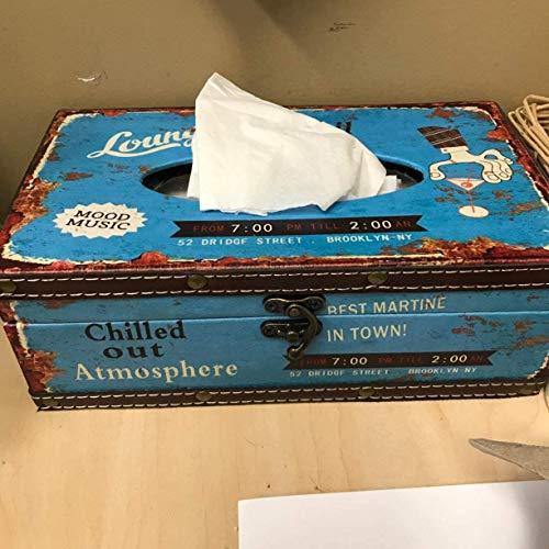 LOXZJYG Silencio Compras Estilo Retro Tamaño Grande Rectángulo Top Dispensador Caja de pañuelos Tapa de la Cubierta (Azul)