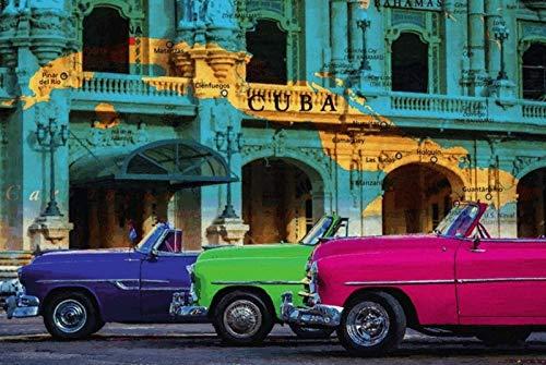 NWFS Cuba Kaart op huiswand & 3 Autos metalen bord bord Metal Tin Sign gewelfd gelakt 20 x 30 cm