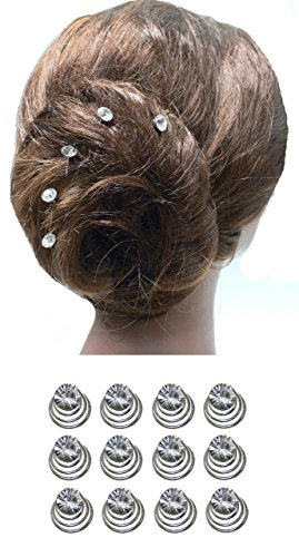 Dozen Pack Hair Twists with Solitaire Crystal 5/8 in diameter BU863175-solht-Dcrystal by Bella