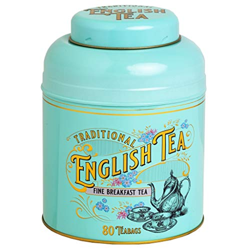 LILAJ MD03 - Caja de té estilo victoriano con 80 bolsitas de té para desayuno inglés