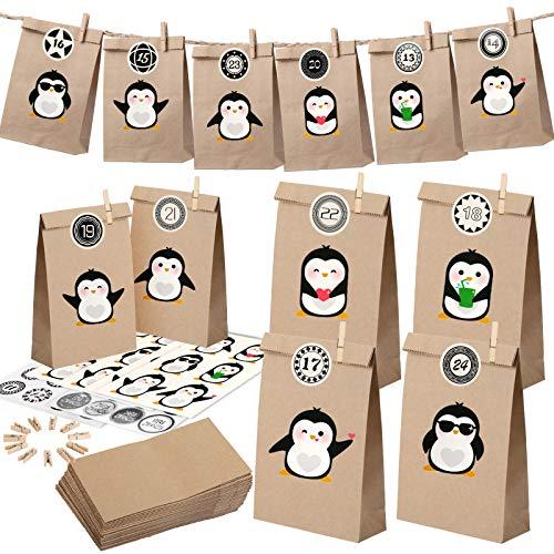 KATELUO 24 Stück Adventskalender,adventskalender zum befüllen,DIY adventskalender,geschenksäckchen,Mit 4 Tieraufklebern für Eule, Pinguin, Wombat, mit 2 Aadventskalender Aufkleber für 1-24 Tage