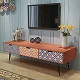 Cikonielf Mueble para TV con 3 cajones, aparador retro, mueble para TV moderno, de madera, mueble bajo para TV, mueble para el estéreo, 120 x 40 x 36 cm, color marrón