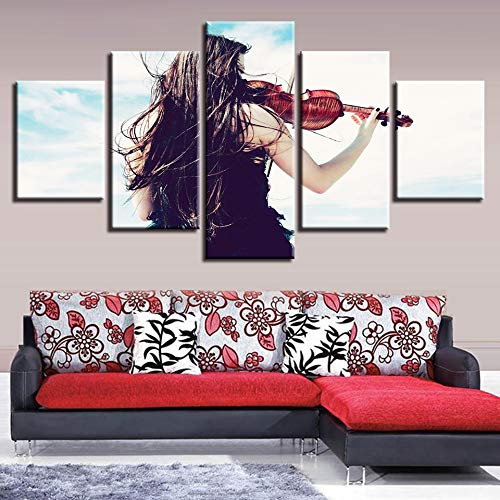 sanzangtang Rahmenlose Malerei Poster Bild Leinwanddrucke High Definition 5 Stück Frau spielt Geige Moderne WandkunstZGQ1439 20x35cmx2, 20x45cmx2, 20x55cmx1