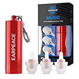 EarPeace Concert Ear Plugs - Reusable High Fidelity Earplugs - Hearing Protection for Music Festivals, DJs, Musicians, Motorcycles, Raves, Work & Airplane Noise Reduction - Standard, Red Case
