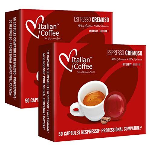 100 Capsule di caffè Italian Coffee compatibili Nespresso® Professional* (Espresso Cremoso)