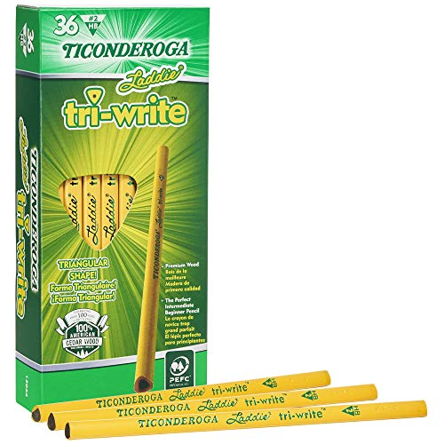 Ticonderoga Laddie Tri-Write Pencils, Wood-Cased #2 HB Soft, Intermediate Size Triangular without Eraser, Yellow, 36-Pack (13044)