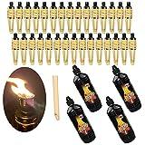 Moritz 30 antorchas de bambú Deluxe 90 cm estándar natural + 4 x 1000 ml de aceite para lámpara de jardín, decoración de jardín, lámpara de aceite, lámpara de camino, lámpara de aceite
