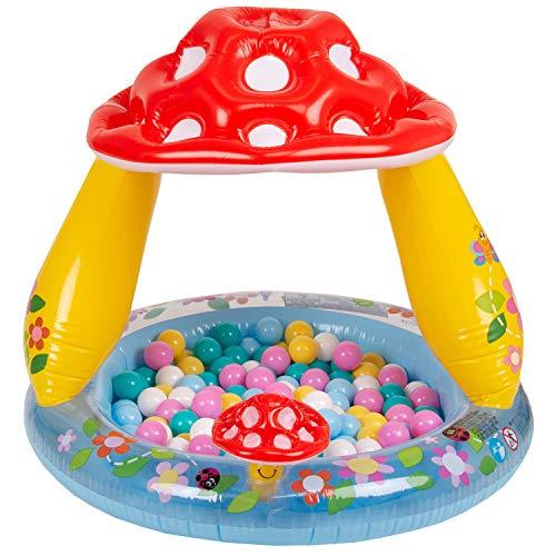 Selonis Babys Planschbecken Babypool Schwimmbad Mit Bällen Pool, Pilzförmig:Weiß/Gelb/Pink/Babyblau/Türkis,102X89cm/100 Bälle