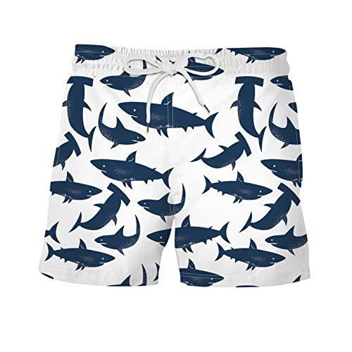 Pantalones Cortos Estampados en la Playa para Hombre Moda Streetwear Trend All-Match Personalidad Pantalones Cortos Sueltos de Verano con Cintura elástica XL