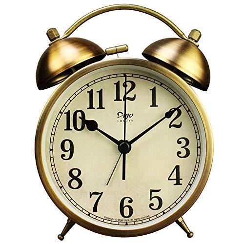 Maxspace - Reloj despertador doble de 10,16 cm, con doble campana, funciona con pilas con retroiluminación para dormitorio pesado...