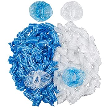200 Pack Disposable Ear Protectors,DanziX Waterproof Ear Protective Caps Covers for Hair Dying,Shower,Bathing-Clear,Blue
