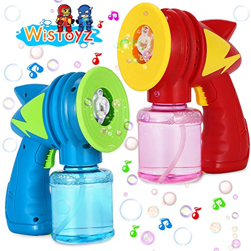 WisToyz Bubble Machine Bubble Blower with 2 Bottles of Bubble Solution(10.6 Fl.oz), Automatic Bubble Maker with Light & Music, Thunder Bubble Gun for Kids, Indoor & Outdoor, Birthday Gift, 2-Pack
