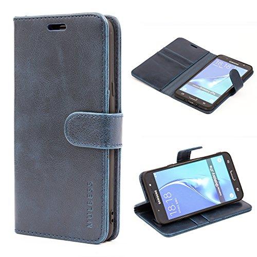 Mulbess Handyhülle für Samsung Galaxy J7 2016 Hülle, Leder Flip Case Schutzhülle für Samsung Galaxy J7 2016 Duos Tasche, Dunkel Blau