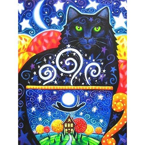 Lazodaer Juego de punto de cruz con pintura de diamante para niños adultos principiantes con herramientas abstracto gato negro 11.8 x 15.7 pulgadas