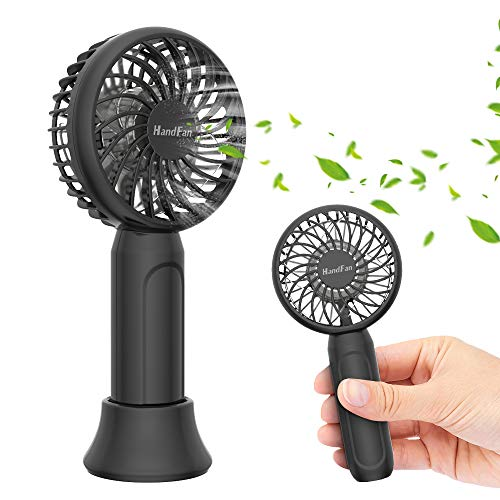 HandFan Mini Personal Handheld Fan, Super Portable Pocket Size Battery Operated Fan with 18hrs Working Time, Strong Airflow, 3 Speeds, Natural Wind Mode, Removable Base USB Desk Fan for Travel Office Office Hot Flashes Outdoor Sports
