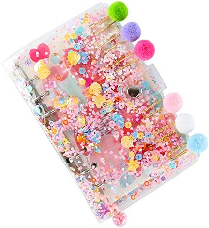 2021 Refillable A5 Notebook Set with 6 Hole Loose Leaf PVC Sequin Binder Cover Square Ruled product image