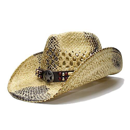 LHZUS Sombreros Sombrero for el Sol for Mujer Verano Playa de Paja Hombres Sombrero de ala Ancha Vaquero Sombrero de Vaquera Hollow Star Sign Banda de Cuero (Color : 1, Size : 56-58cm)