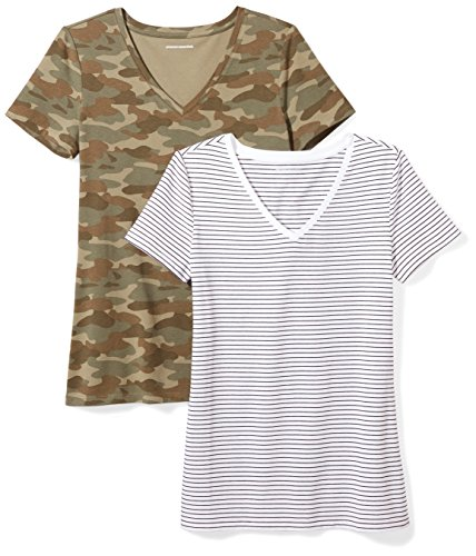 Amazon Essentials Camiseta de manga corta clásico con cuello en V, Mujer, Multicolor (Multicolor (White Stripe/Camo Print)), L, pack de 2