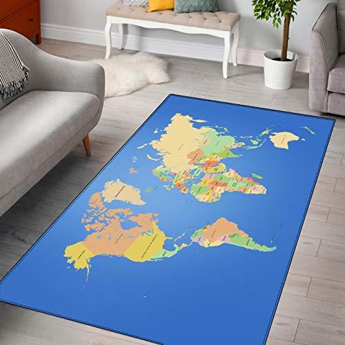 LGXINGLIyidian Alfombra Mapa del Mundo Creativo Y Hermoso Alfombra Suave Antideslizante para Decoración del Hogar Impresa En 3D F-700T 60X100Cm