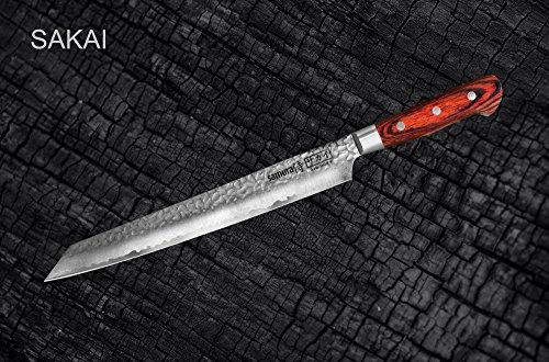 "Samura Sakai Yanagiba Shushi - Coltello Sashimi 10.6\""/270 mm 33 strati. Nucleo in acciaio damascato VG10 (Yanagiba - Knife)"