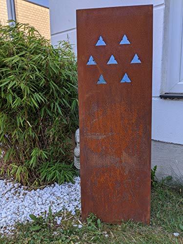 Zen Man Edelrost Garten Sichtschutz Wand mit Glasdeko Sichtschutzwand Rost Gartenzubehör B40 H120cm