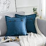 AllmarkHomes Fundas De Cojines Sofa Cojines Decorativos Funda Cojin 45x45 cm Cojines Sofa Para Sofa Con Cojines Fundas Almohadones (Azul Oscuro Set De 2)