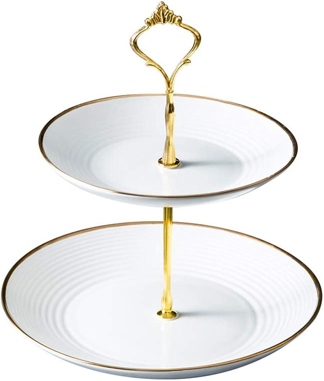 Support à Gateau Double en Céramique pour Plateau à Desserts en Forme De Corbeille De Fruits, Support en Métal Amovible HBJP (Couleur   blanc)