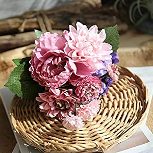 Artificial and Dried Flower 1 Bouquet Vivid Peony Dahlia Daisy Posy Decor Artificial Silk Flowers Wedding Decorations Fake Plants Home Decor – ( Color: Purple )