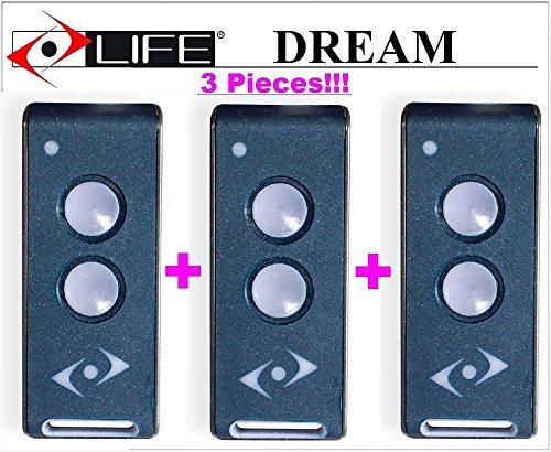 3x Life Dream 3-Kanal Fernbedienungen, 433,92MHz Rolling Code. 2Tasten. Die neue Version von Life Fido, Life VIP, Life Star und Leben Bravo-Fernbedienung.