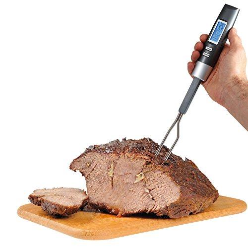 Bratenthermometer Digital Küchen Thermometer Kochthermometer mit Fleischgabel (Fleischthermometer, Temperatursensor, LCD Display)