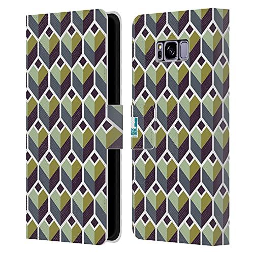 Head Case Designs Polygones Verts Estampes Géométriques Optiques Coque en Cuir à Portefeuille Compatible avec Samsung Galaxy S8+ / S8 Plus